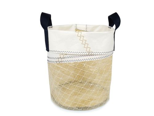 Wastepaper bin made of recycled sailcloth.