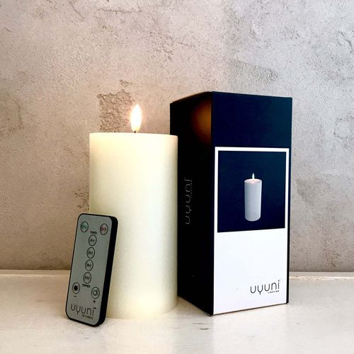 LED light wax CANDLE - size 7,8 X 18 cms -